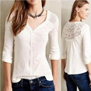 Anthropologie MEADOW RUE Quinn Henley White Lace Top M